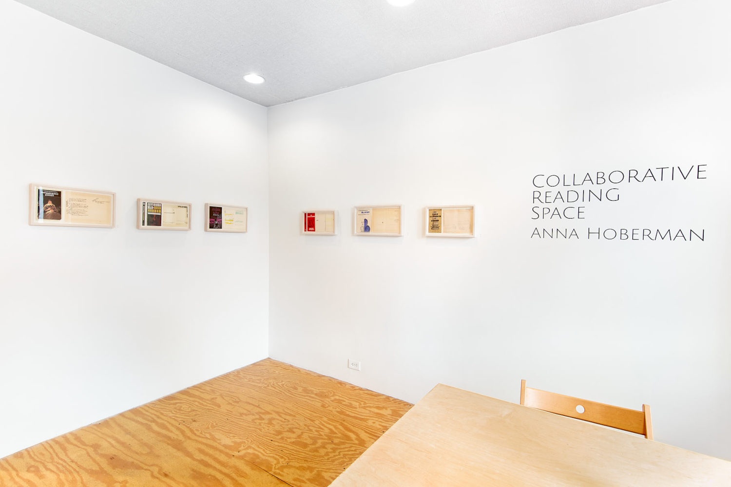 anna hoberman, collaborative reading space at stand4 gallery, curated by john ros. april-may 2021. multiprocess print exhibition with collaborative library archive community engagement component.