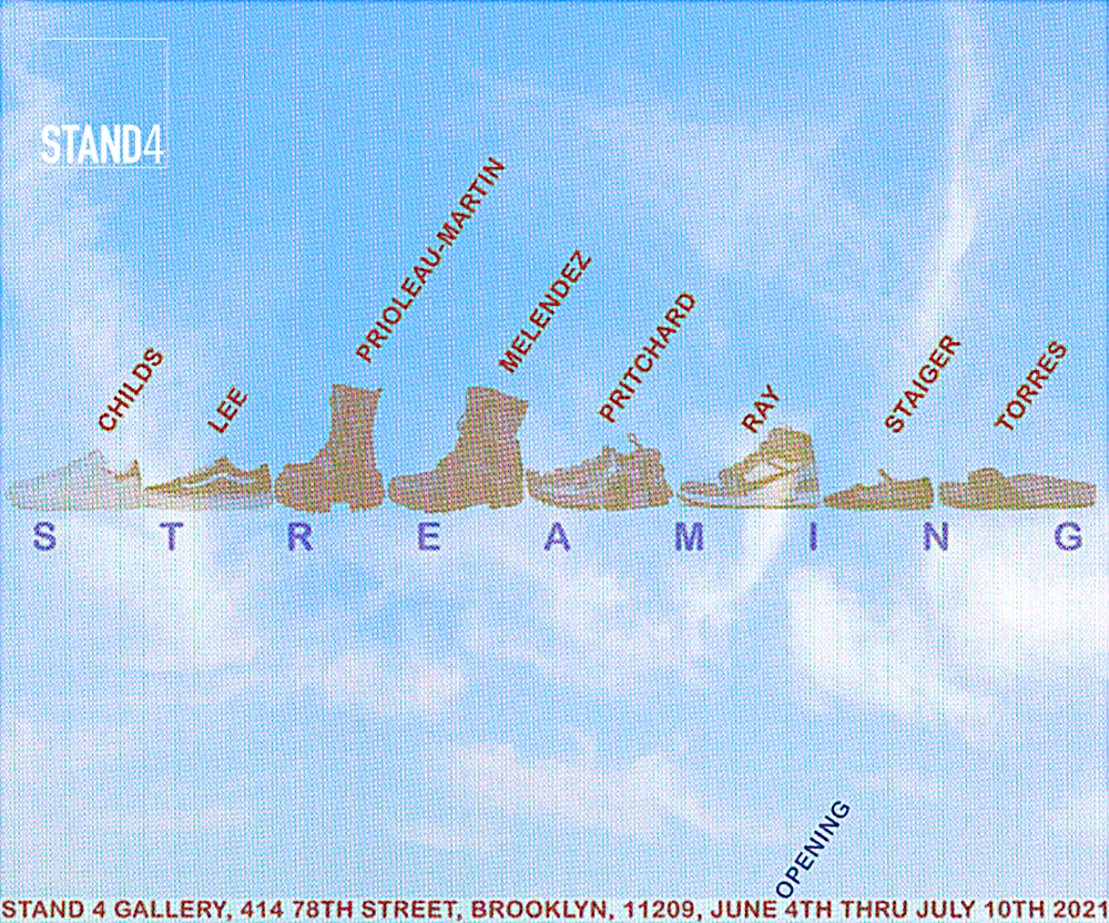 Stand4 Gallery 2021 Summer Programming: S-T-R-E-A-M-I-N-G Organized by Melissa Staiger & Mike Childs; featuring: Julie Torres, Melissa Staiger, Sharmistha Ray, Ben Pritchard, Rafael Melendez, Keisha Prioleau-Martin, Deanna Lee, Mike Childs